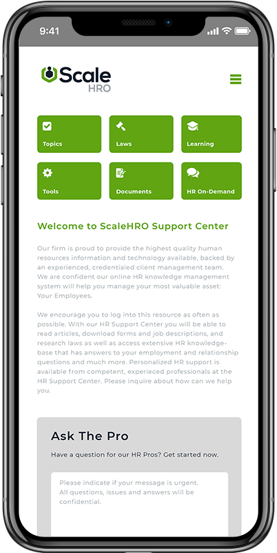 scalehro peo compliance mobile