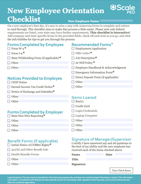 what is a peo - New Employee Orientation Checklist