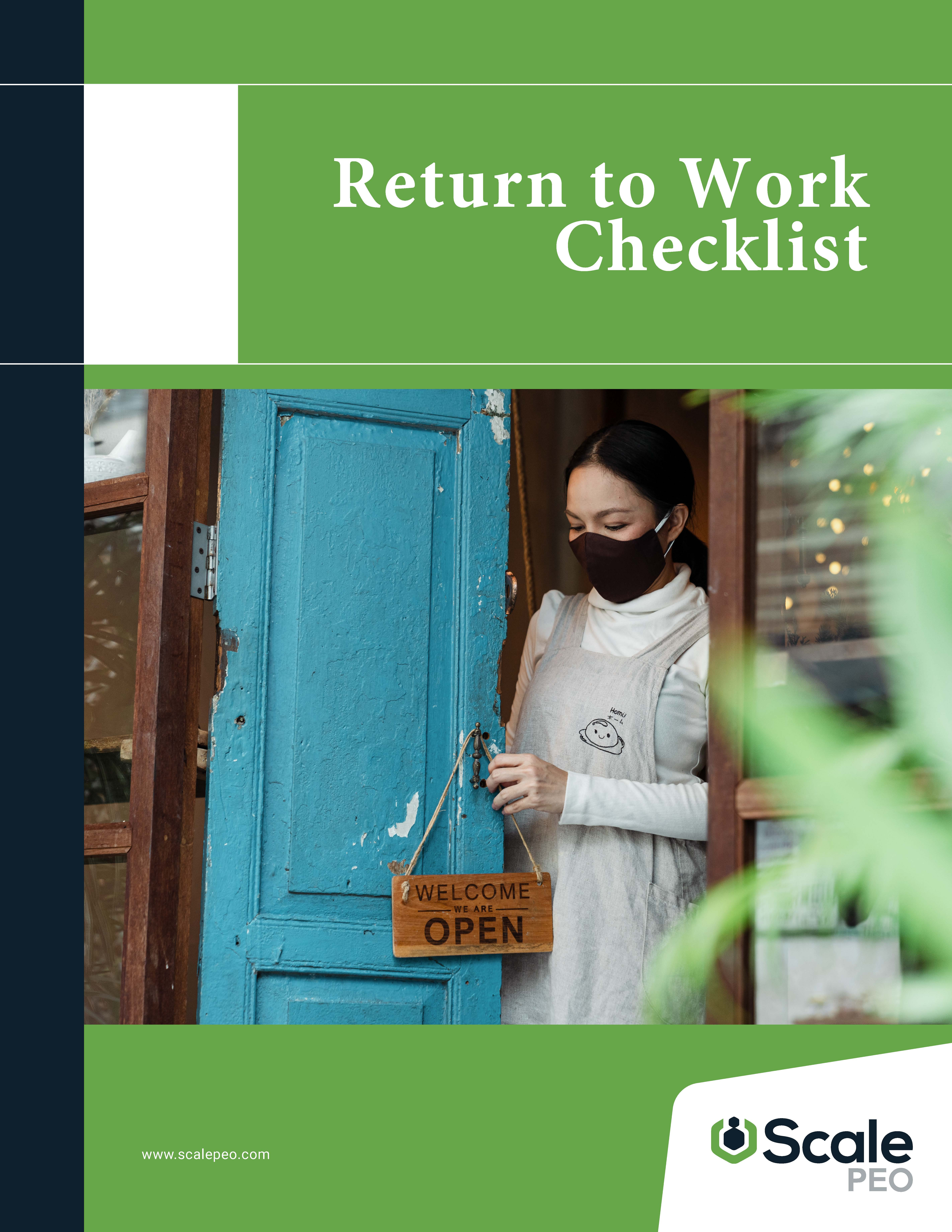 Return to Work Checklist Cover
