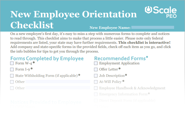 New employee orientation checklist